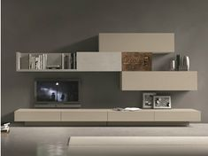 Photo of Sectional wall-mounted TV wall system I-modulArt – 277 By Presotto design Pierangelo Sciuto