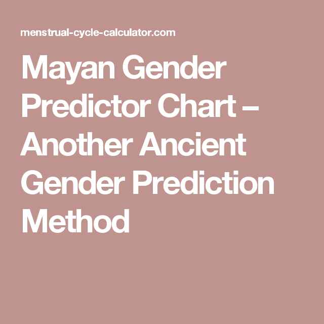 Mayan Gender Predictor Chart Another Ancient Gender Prediction