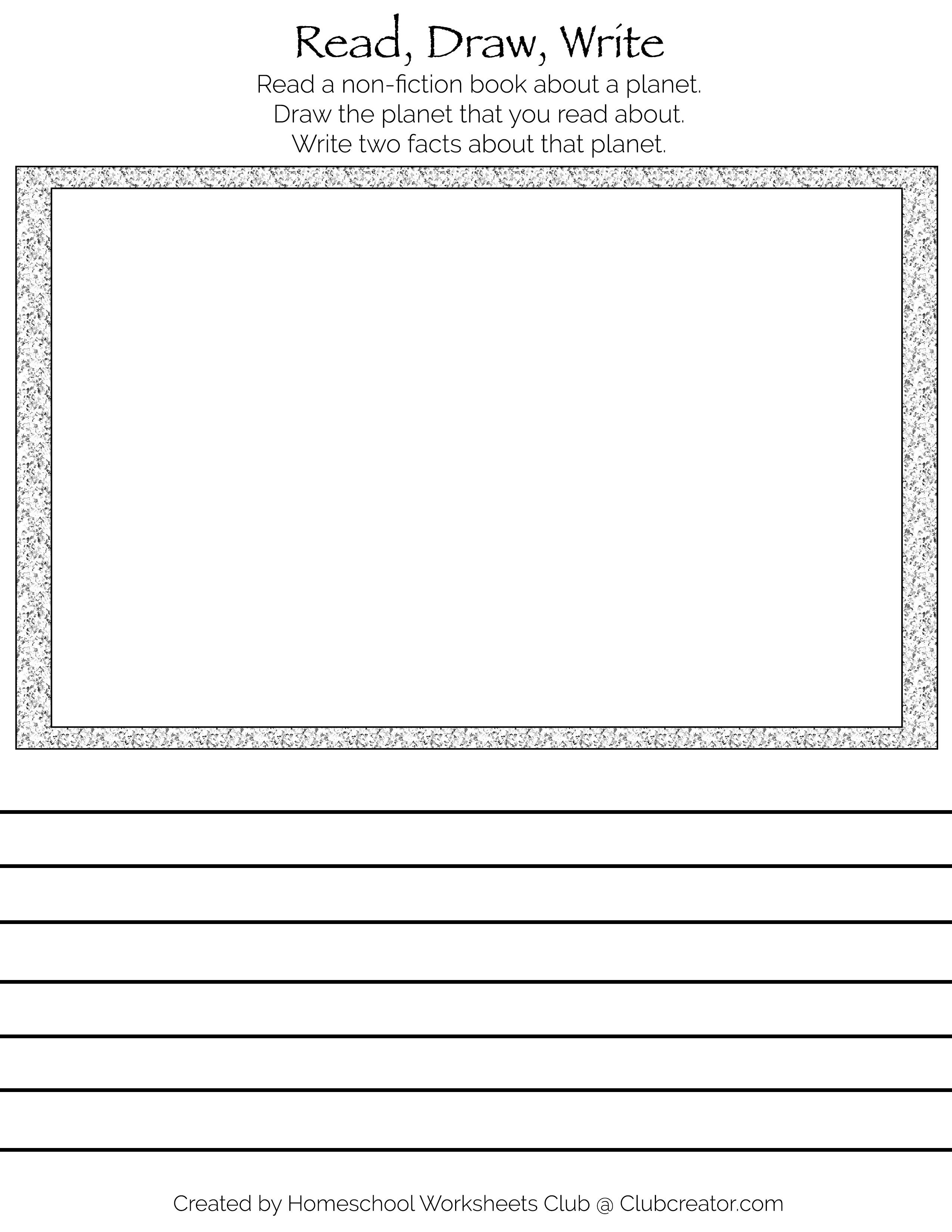 Book Response Worksheet Non Fiction Planet In