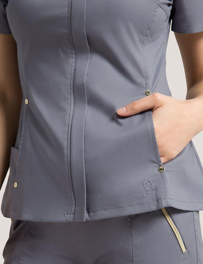 Hidden Zipper Top in Black - Medical Scrubs by Jaanuu