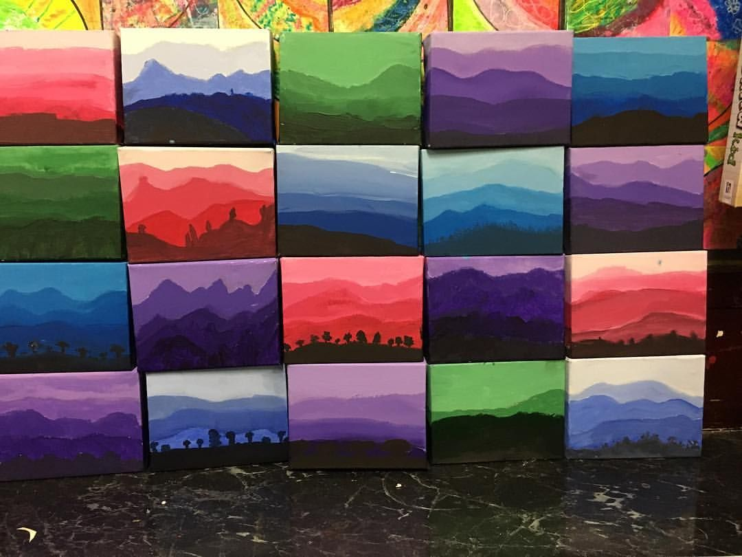 hight resolution of Grade 6 Tints and Shade lesson on a small canvas. An exercise to prepare  for our large landscap…   Landscape art lessons