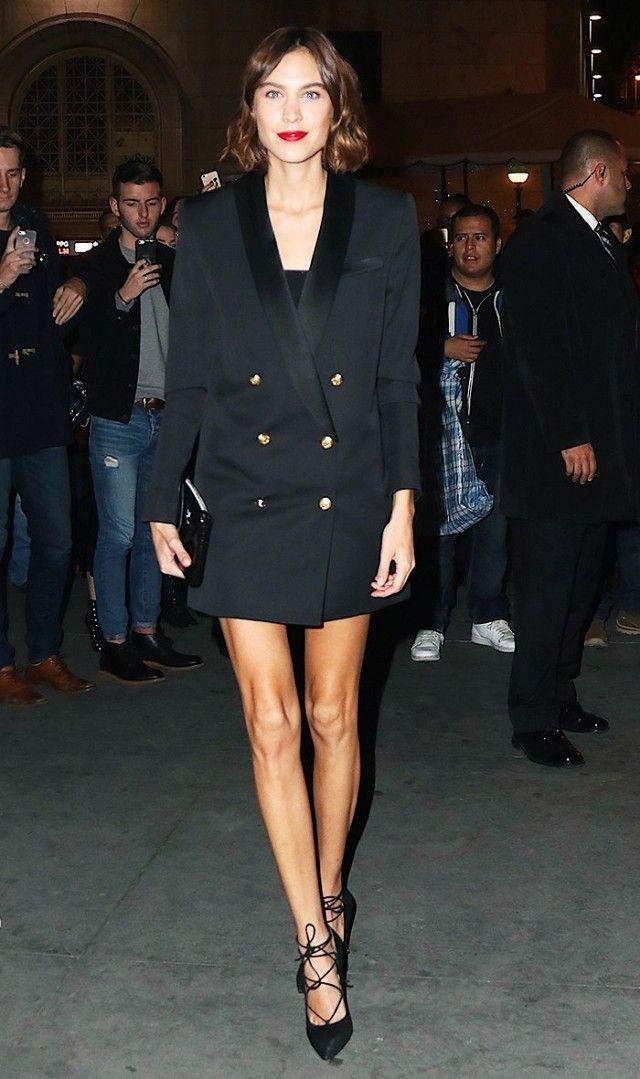 Alexa Chung wears a Balmain x H M tuxedo dress with lace-up heels 52e53f3ae4