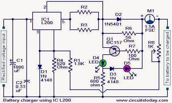 Battery Charger Circuit Using L200 Med Billeder
