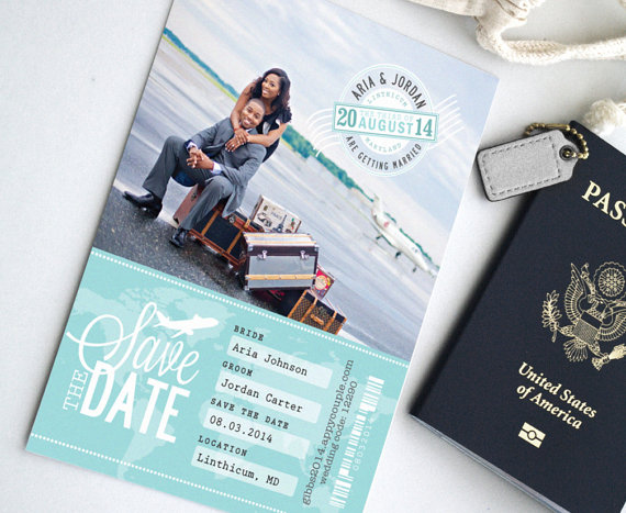 Design Fee - Destination Wedding Travel Ticket Save the Date Card - Perfect for Travel Wedding Theme or Beach Wedding - with Stamp Monogram