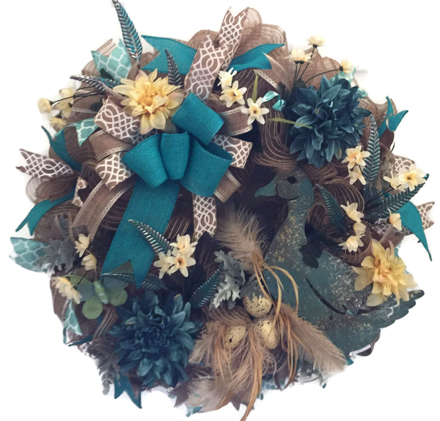 Teal Duck Wreath Duck Wreath Burlap Large Duck Wreath