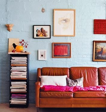 Blue Wall Red Couch Red Highlights Brick Interior Wall Interior Design Interior