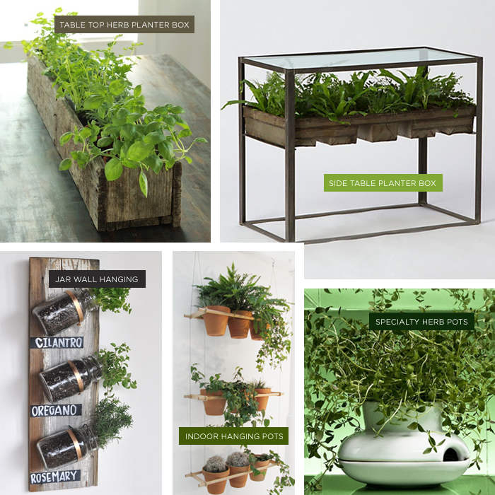 i like the side table table top and hanging ideas for diy indoor herb gardens