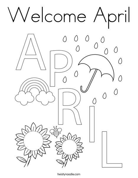 Welcome April Coloring Page - Twisty Noodle in 2020 ...