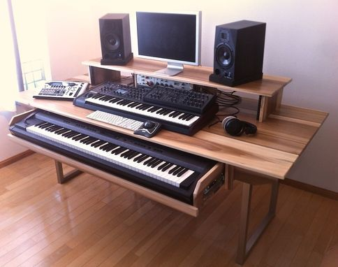 custom made audio video production desk w keyboard workstation shelf and rack units ryg in. Black Bedroom Furniture Sets. Home Design Ideas