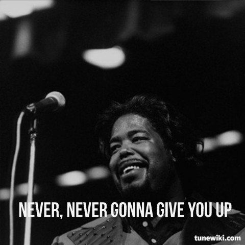 Lyricart For Never Gonna Give You Up By Barry White Music Book