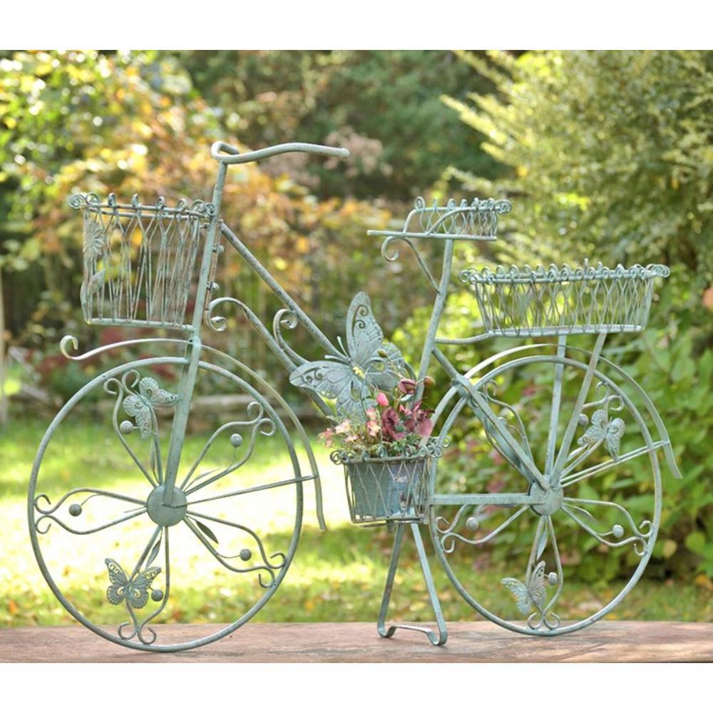 Zaer Ltd International Large Antique Green Iron Bicycle Plant