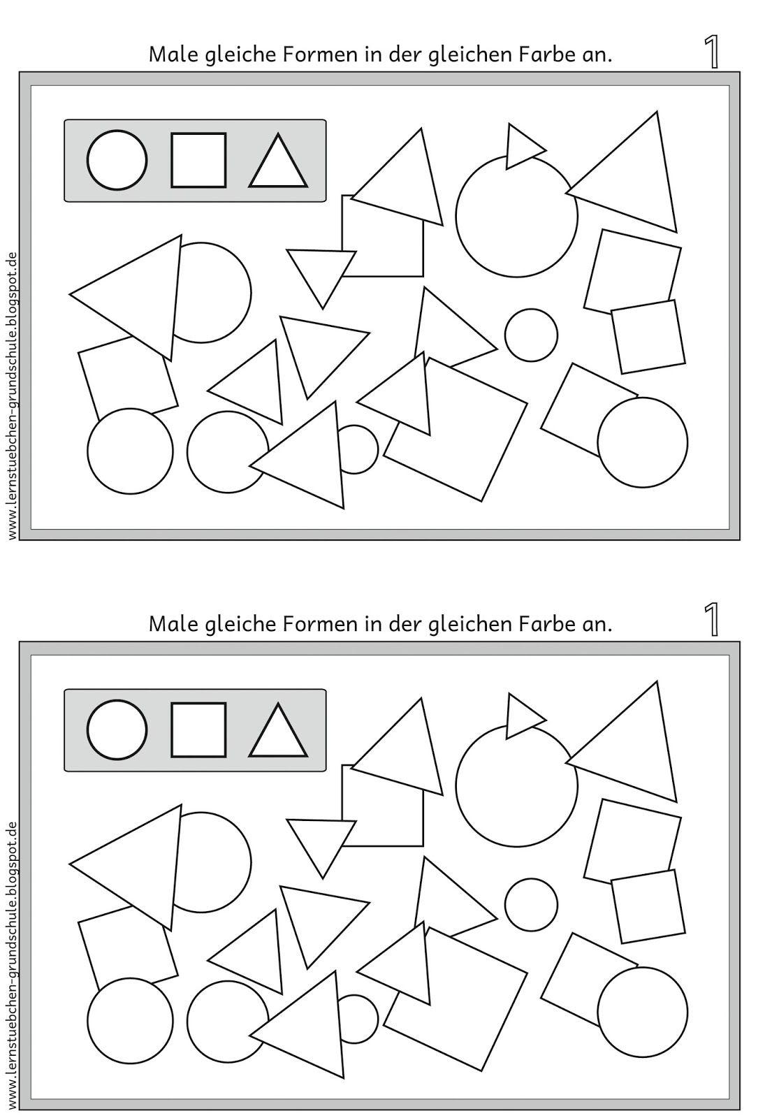 Lernstübchen: GEO Formen gleich anmalen | Vorschulwissen | Pinterest ...