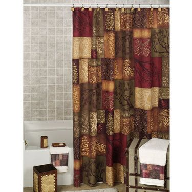Adirondack Pine Cone Block Design Shower Curtain