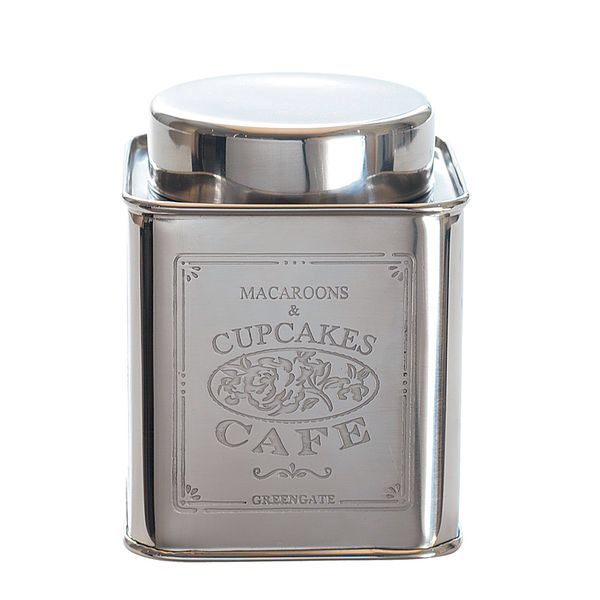 Love this silver green gate tin jar <33  from: http://www.mallanmakeat.fi/product/598/greengate-hopeapurkki-cupcake-cafe-small
