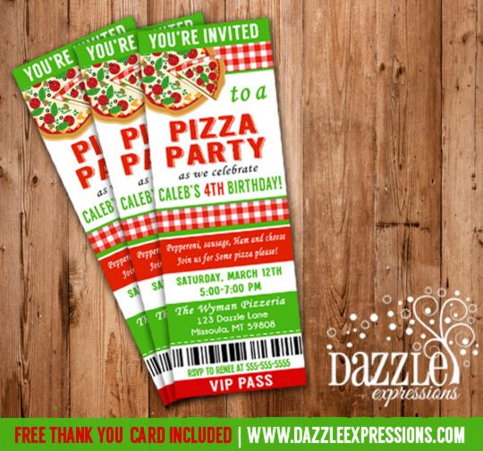 pizza party invitation template free | party ideas | pinterest, Party invitations