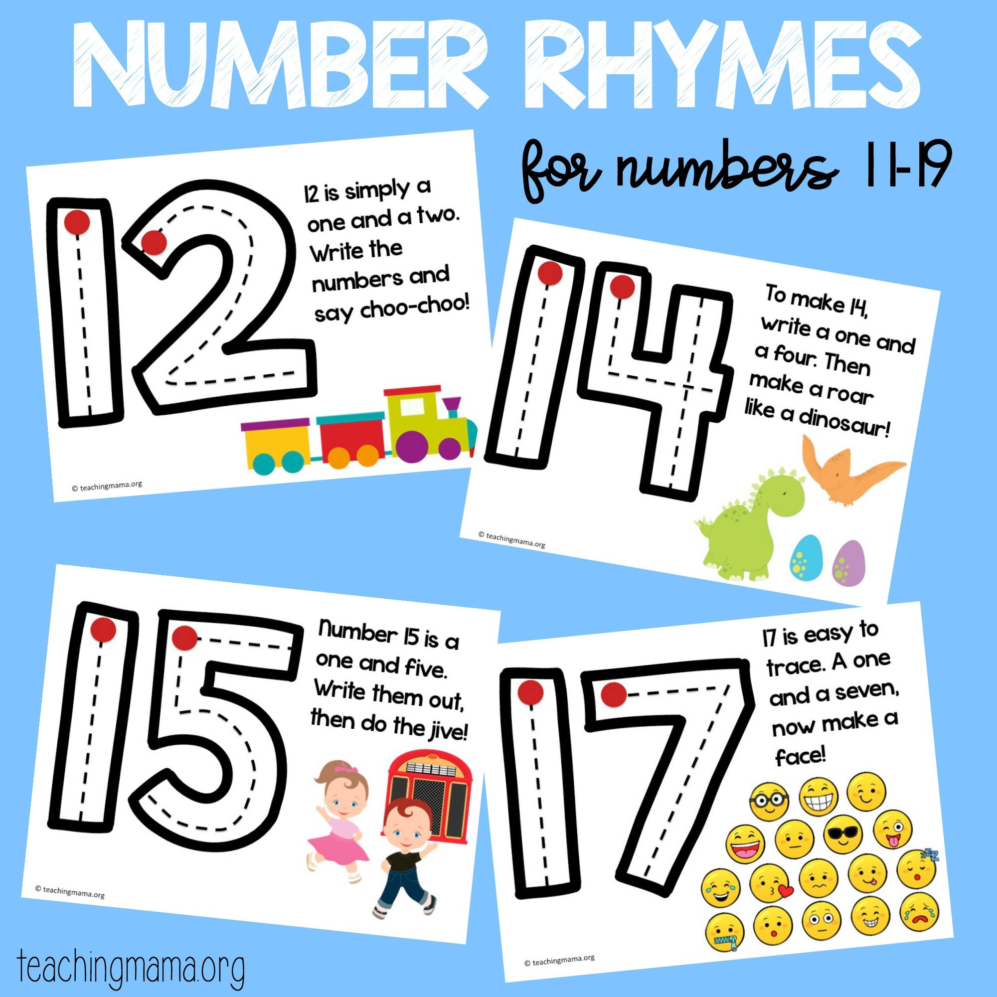 Number Formation Rhymes For 11 19