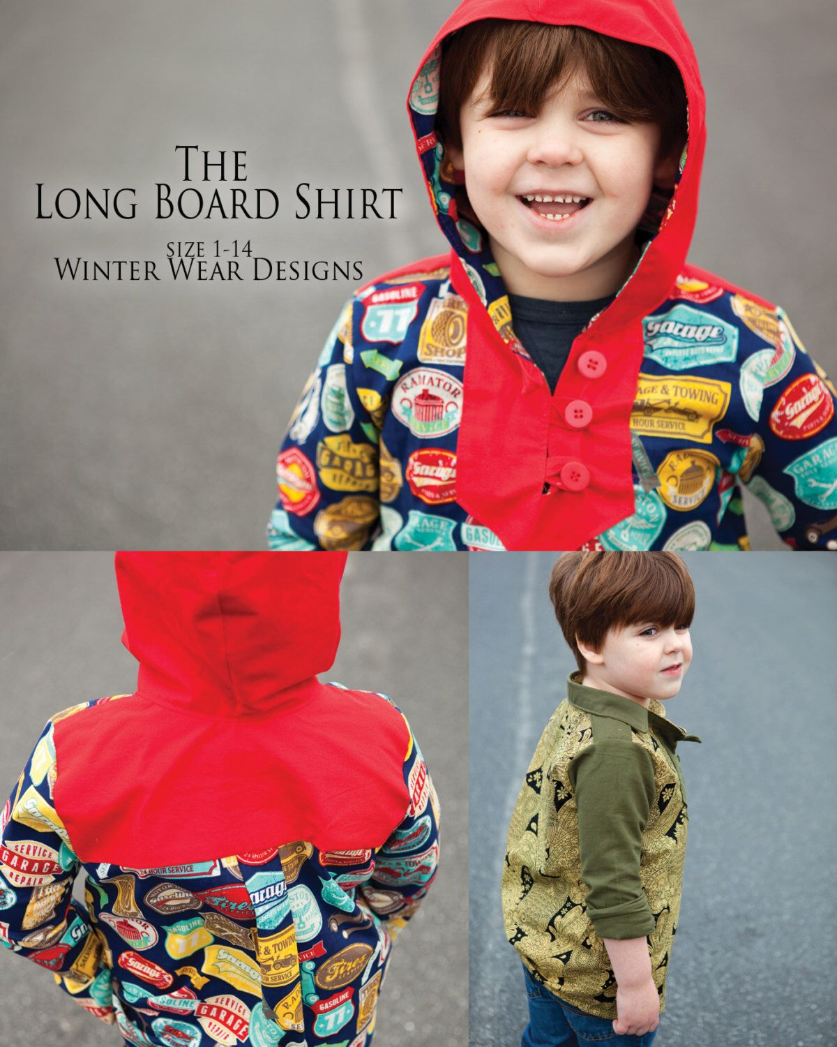 The Long Board Shirt, unisex woven shirt pdf pattern for boys and ...
