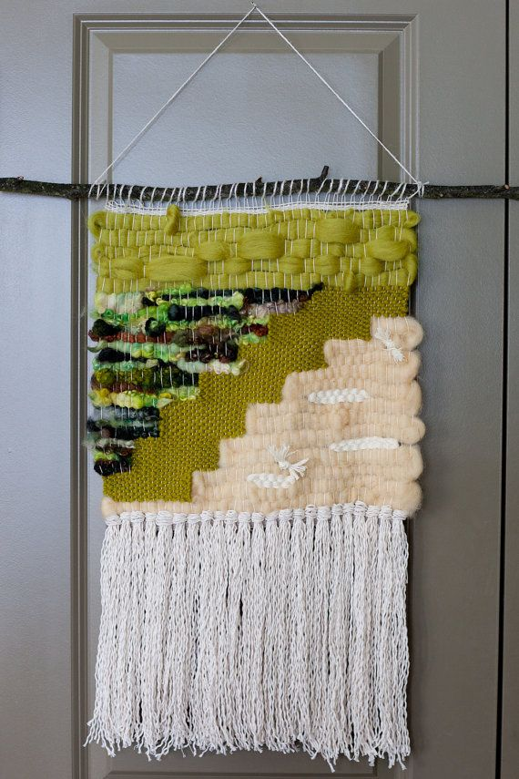 Green tundra / wall hanging weaving tapestry with tassels / textile ...