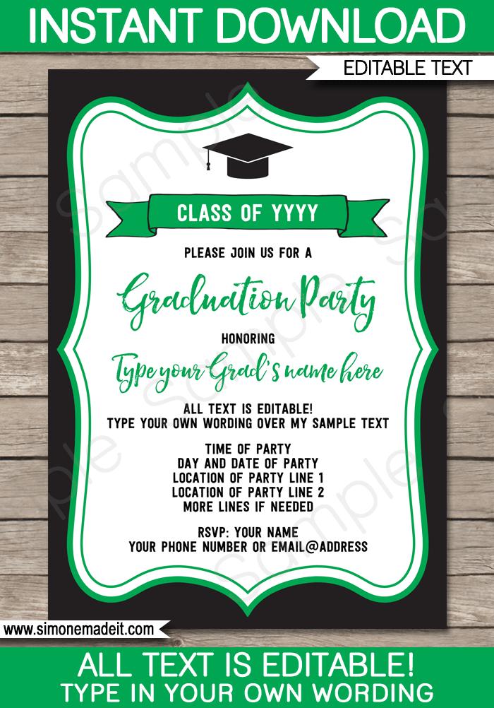Graduation Party Invitations Template
