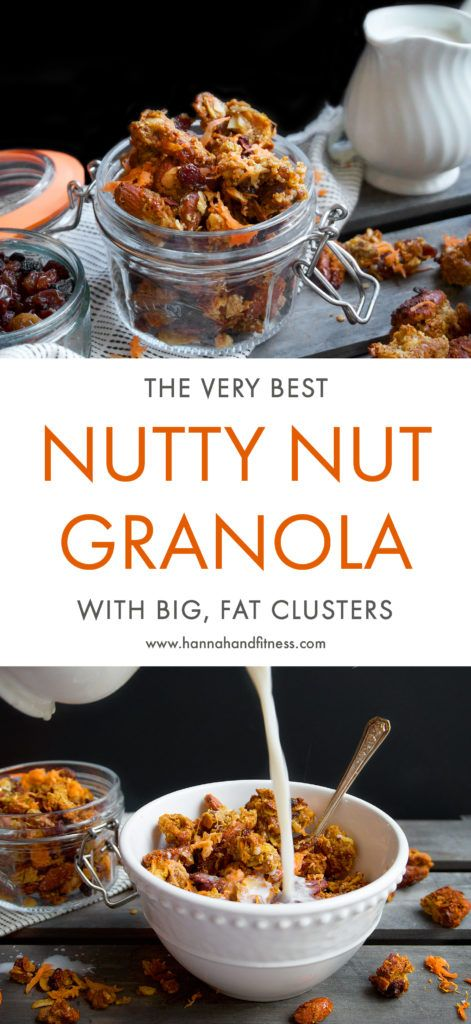 The best healthy, grain free and refined sugar free granola recipe you'll find. Packed full of healthy fats and bursting with crunchy clusters. This makes for the perfect healthy breakfast or snack! A carrot cake themed granola recipe or it can be altered to a simple nut recipe.