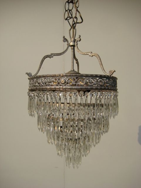 Antique crystal chandeliers 1920 brass 5 tier waterfall crystals antique crystal chandeliers 1920 brass 5 tier waterfall crystals aloadofball Gallery