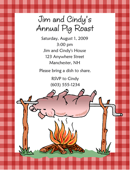 Pig roast bbq barbeque party invitations pig roast party pig roast bbq barbeque party invitations stopboris Choice Image