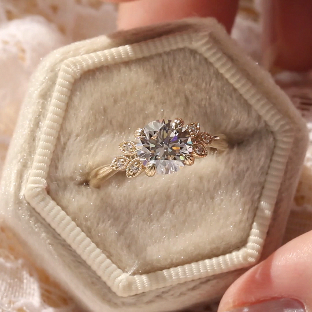 5mm Moissanite Engagement Ring Vintage Unique Diamond Cluster Ring