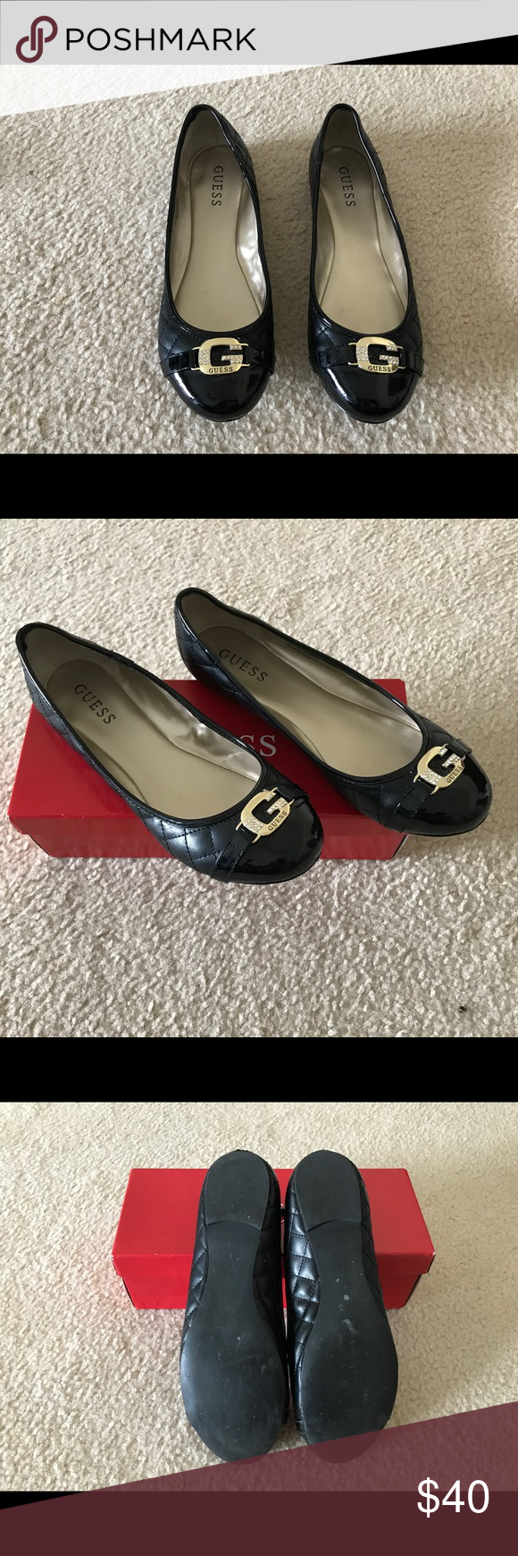 Guess Black with Gold Buckle Ballerina Flats Guess Black with Gold Buckle  Ballerina Flats. Size 9. Great condition!! Worn 2 x s!! d7a6122b36