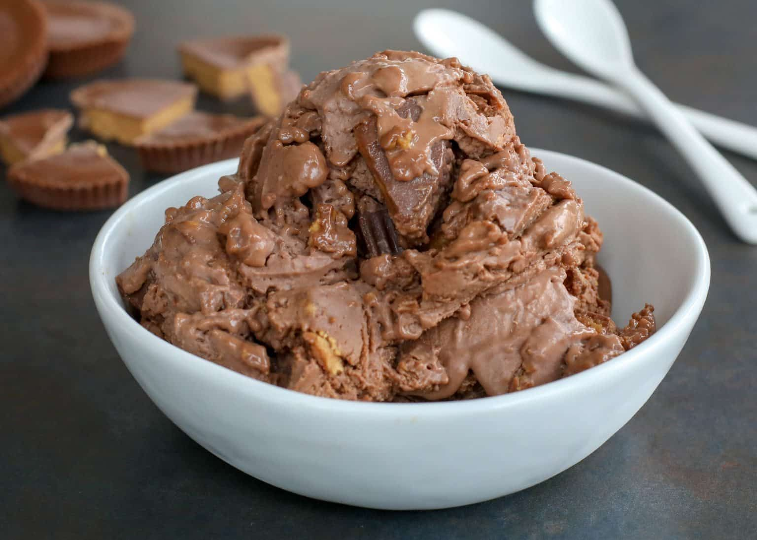 Homemade chocolate peanut butter ice cream is a hit in