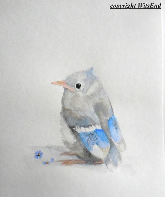 Bluejay Watercolor Painting Baby Bird Nursery Art Spring Babies