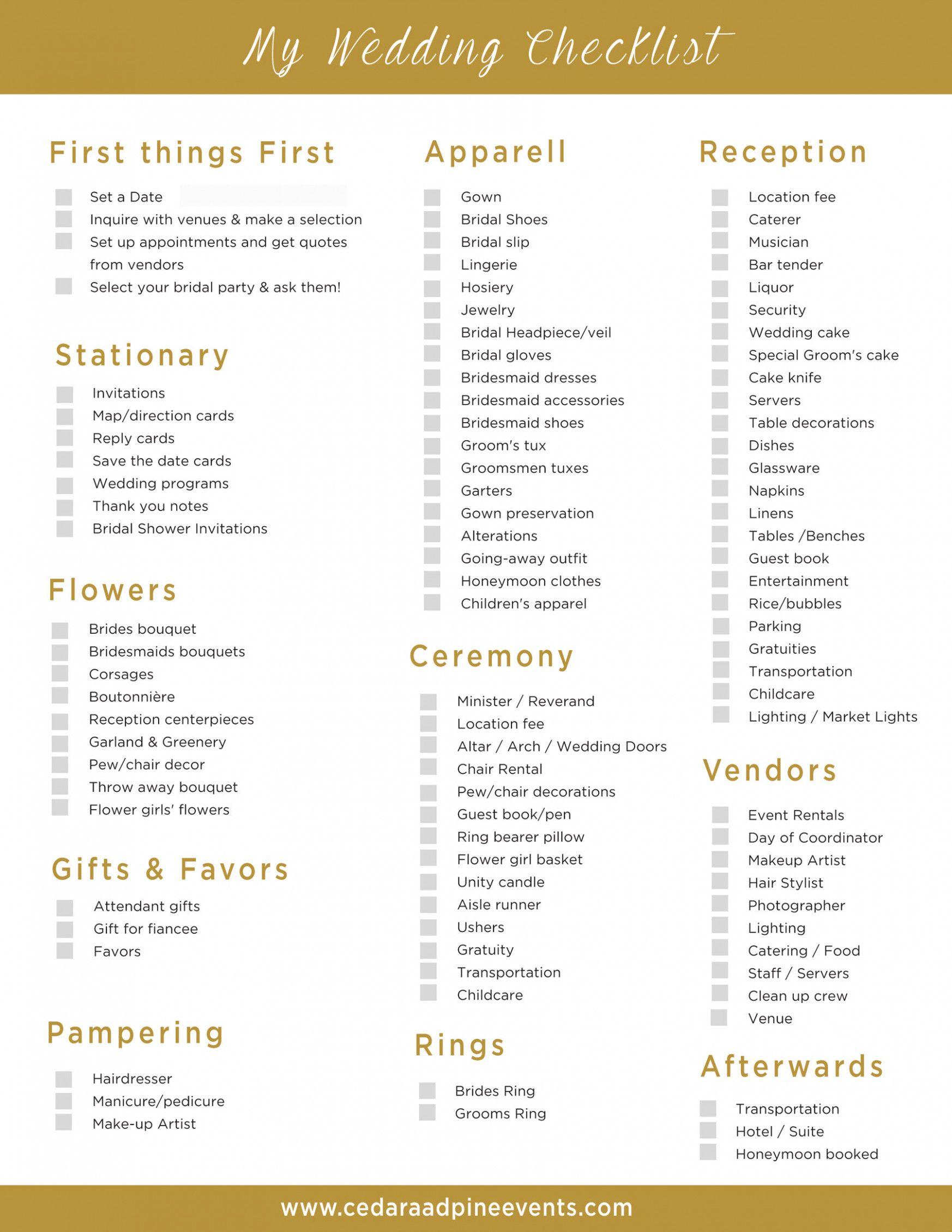 Wedding Reception Checklist Free Printable