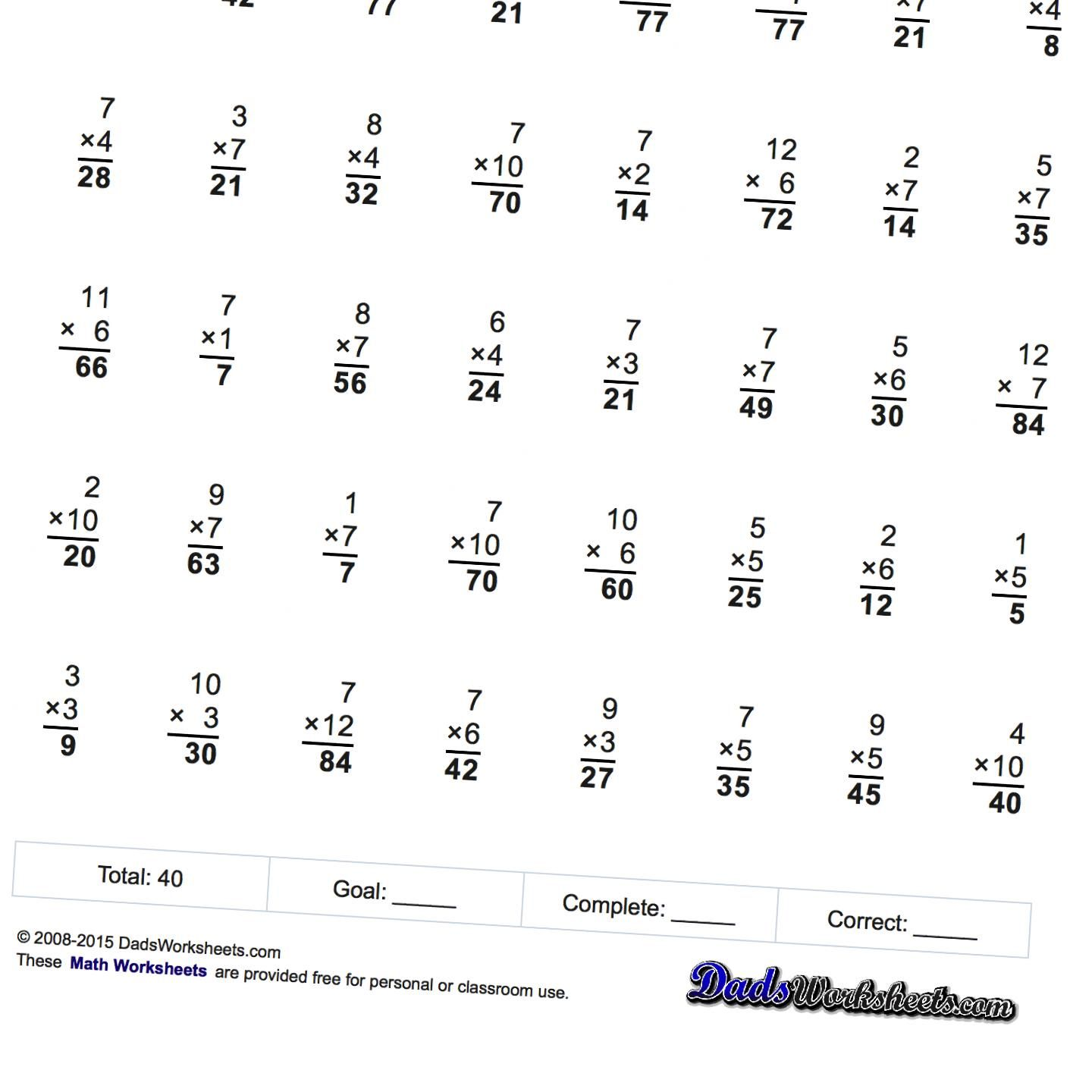 Progressive Practice Multiplication Worksheets With