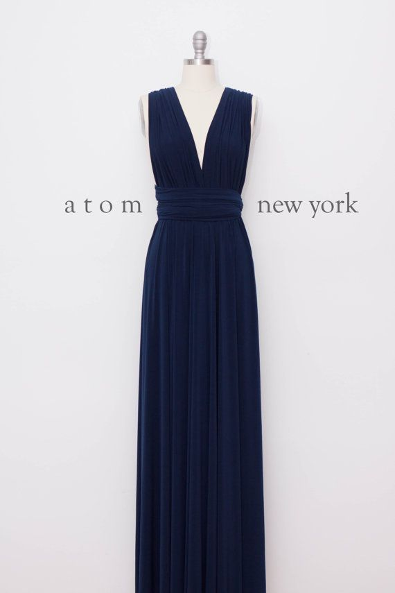 Navy Blue LONG Floor Length Ball Gown Maxi Infinity Dress ...