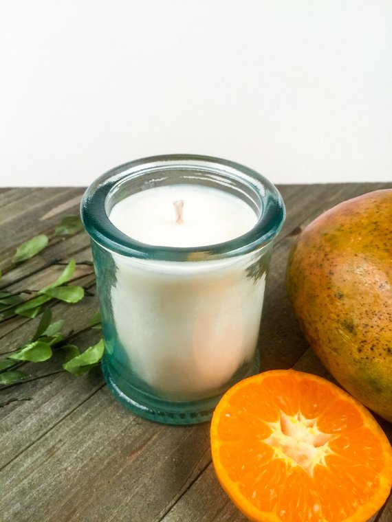 da2e3d3146 Mango & Tangerine Candle / Scented Soy Candle / Votive / Recycled Glass /  Spanish Glass / 4oz