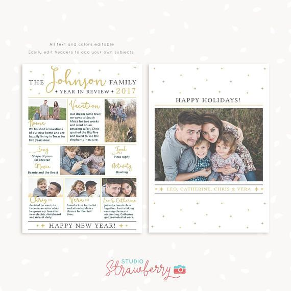 Year in review Christmas card template 2017 overview *** Please - product description template