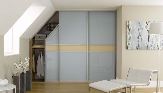sliderobes fitted sliding door wardrobes in blue and cream glass