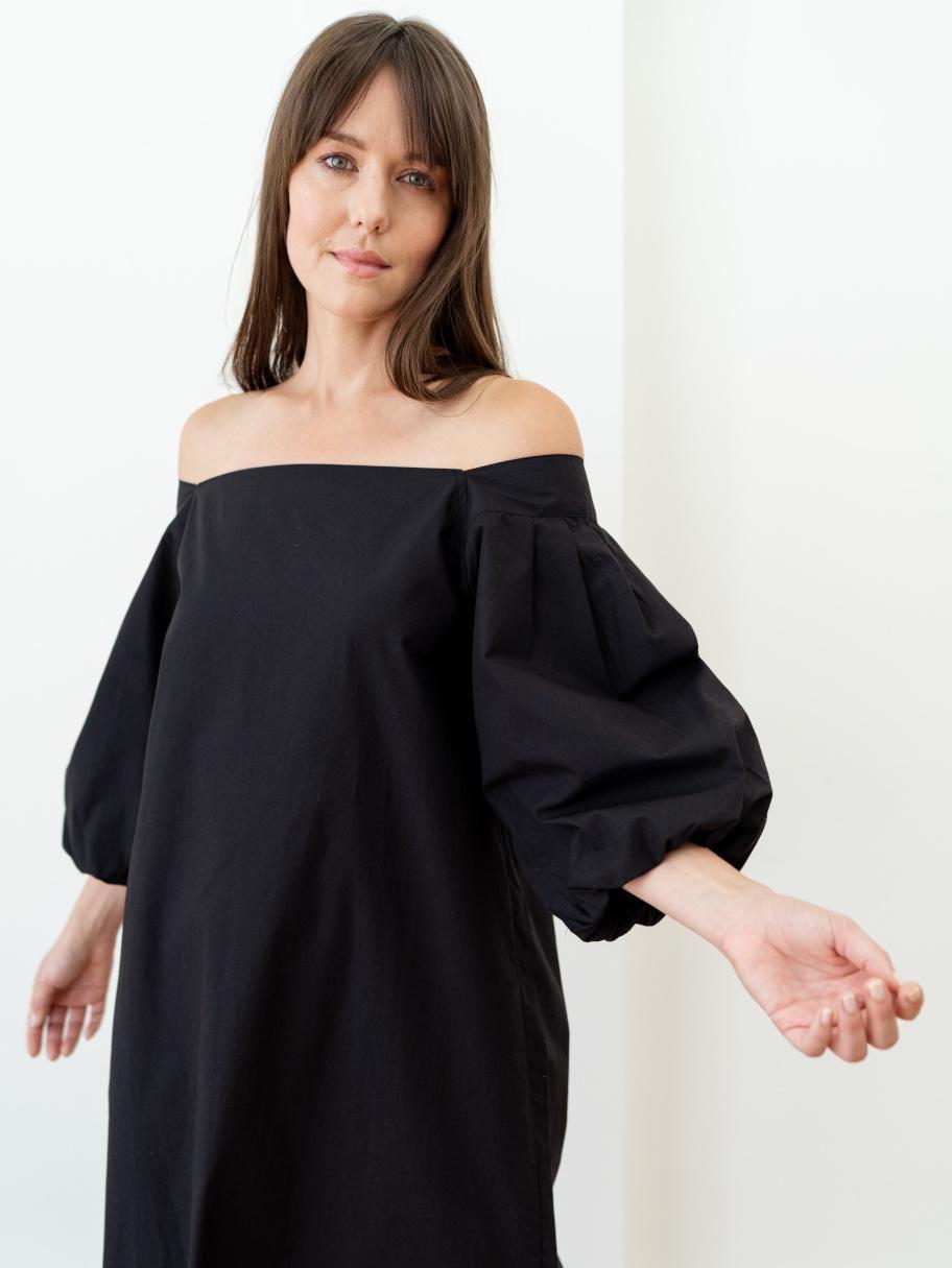 Cleo Dress Black Poplin Dresses Statement Dress Black Dress [ 1215 x 912 Pixel ]