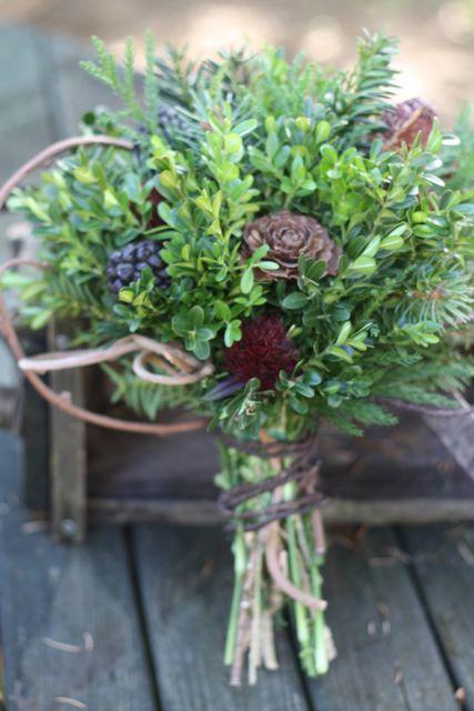 Very Seasonal Evergreen Bouquets Wedding Flowers