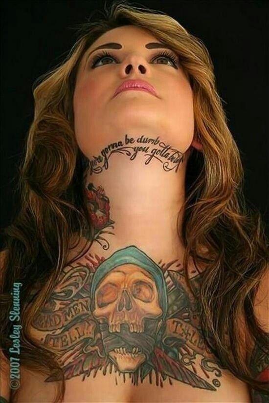 Pirate Chest Piece Neck Tattoos Women Beautiful Tattoos Ink Tattoo