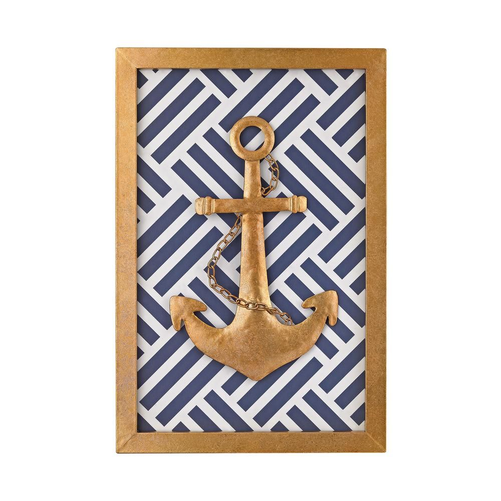 Nautical metal in gold leaf blue and white wall art white wall