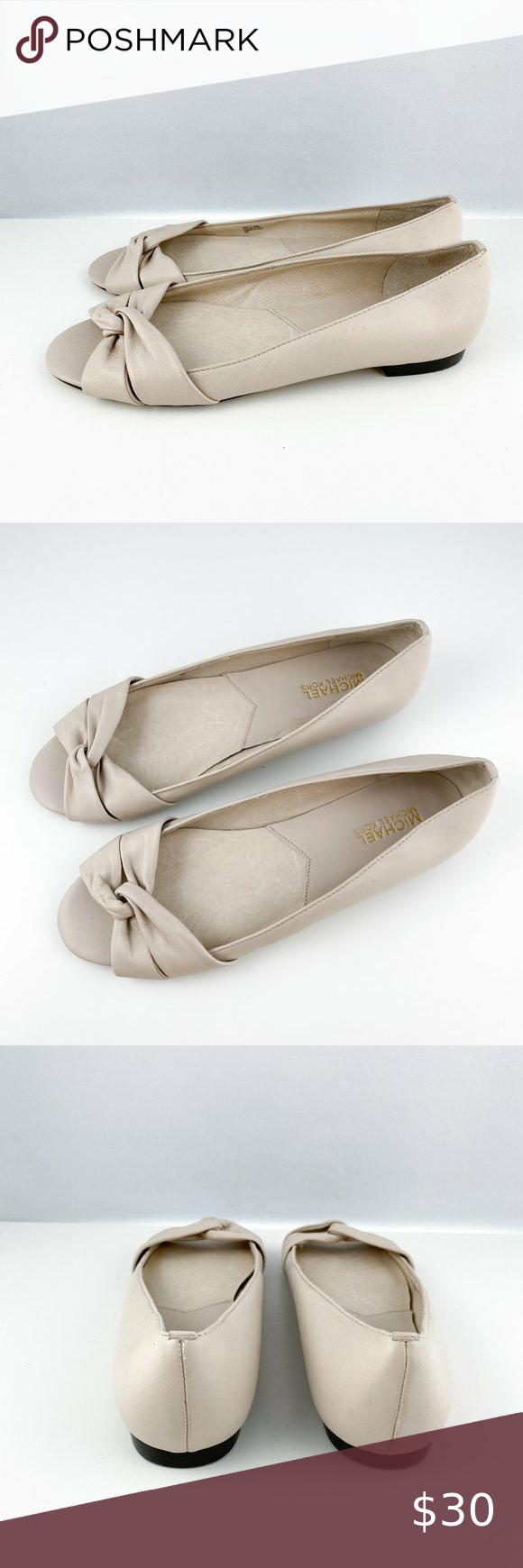 Michael Kors Open Toe Wrap Leather Flats Beige In 2020 Leather Flats Flat Shoes Women Open Toe