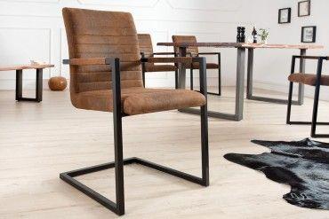 Freischwinger Stuhl Imperial Vintage Braun Mit Armlehne