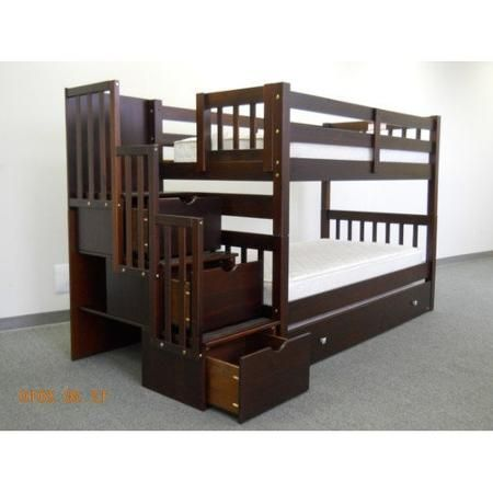 Bedz King Twin Over Bunk Bed With Trundle