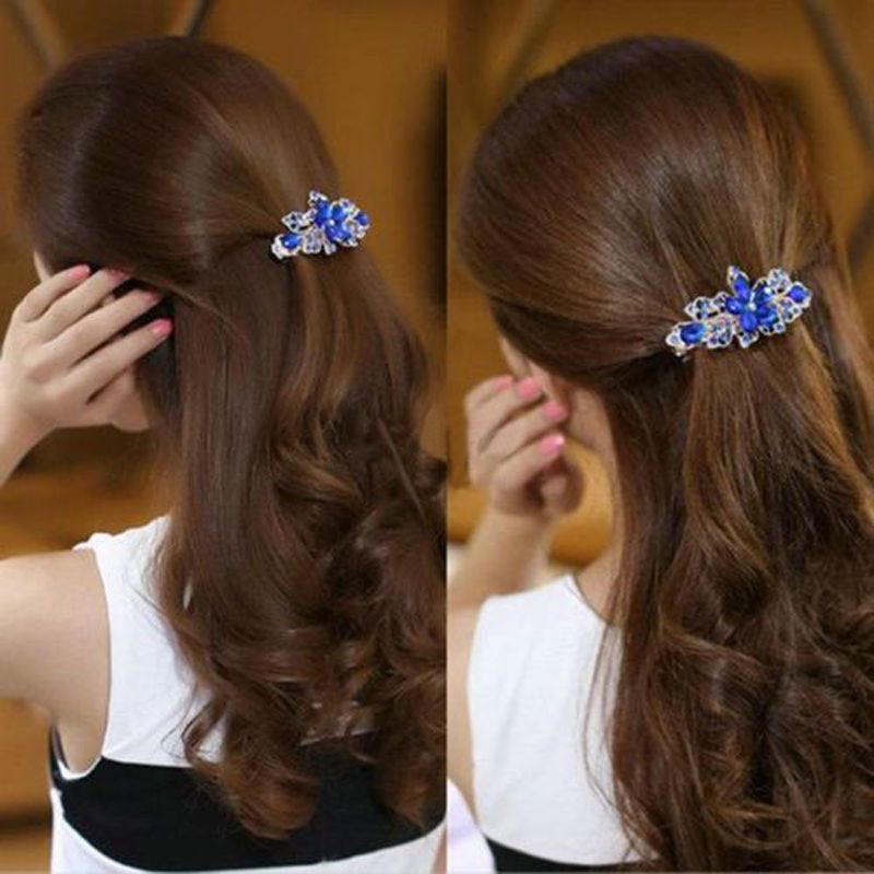 Women Fashion Crystal Rhinestone Flower Hairpin Barrette Hair Clip Accessories