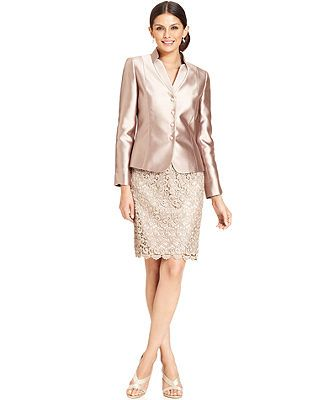 Tahari by ASL Stand-Collar Satin & Lace Skirt Suit