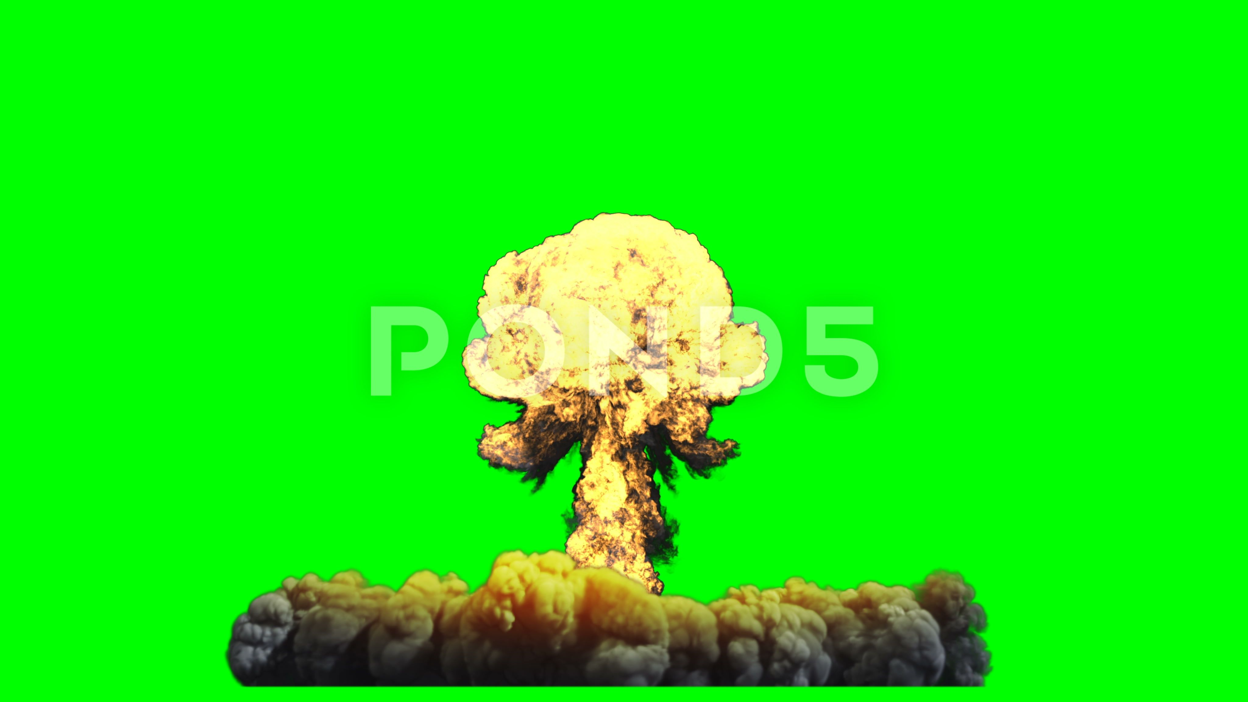 3d Rendering Animation Nuclear Bomb Explosion On Green Screen Stock Footage Ad Nuclear Bomb Rendering An Greenscreen Social Media Design Graphics Animation