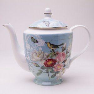 Botanical Blue Bird Teapot