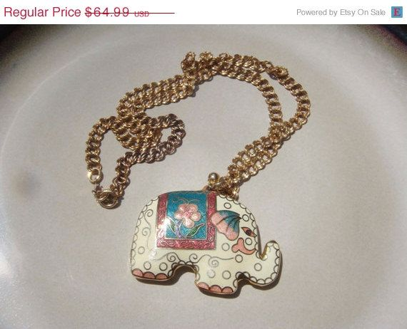 SALE Vintage 12K gold ELKA necklace Elephant by PaganCellarJewelry, $55.24