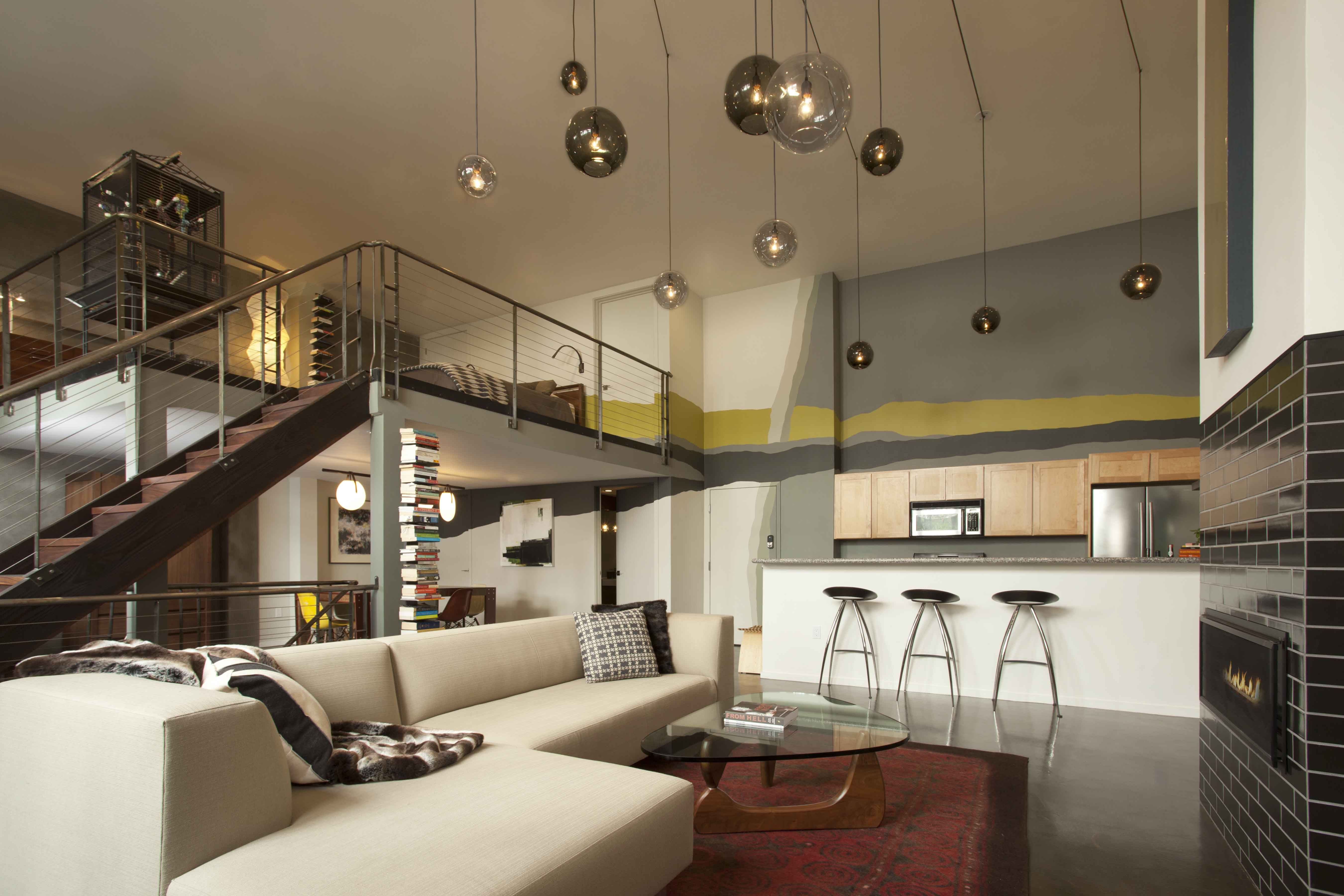 San Francisco loft with doubleheight ceiling and pendant