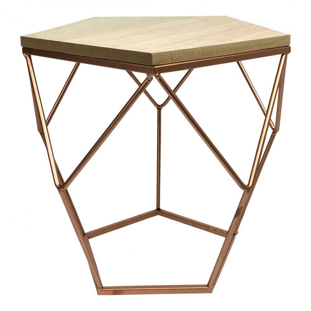 Design Tisch Kupfer Eckig Metalltisch Mit Holz Tischplatte